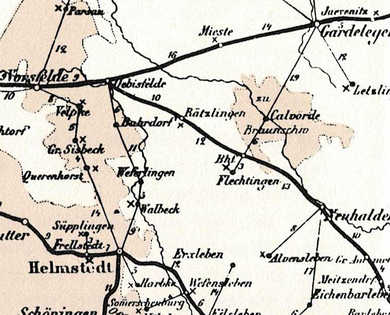 Dieses Bild hat ein leeres Alt-Attribut. Der Dateiname ist 100-Jahre-Oberpostdirektion-Braunschweig-1868-1968-Karte-1874-Calvörde_001304.jpg