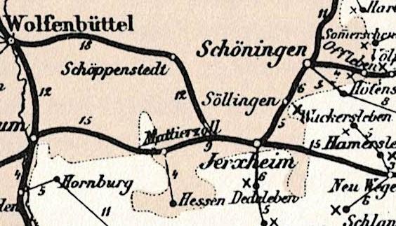 Dieses Bild hat ein leeres Alt-Attribut. Der Dateiname ist 100-Jahre-Oberpostdirektion-Braunschweig-1868-1968-Karte-1874-Hessen.jpg